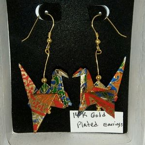 Origami Crane 14k Earrings Handmade in USA